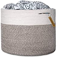 "Goodpick Large Cotton Rope Basket 15.8""x15.8""x13.8""-Baby Laundry Basket Woven Blanket Basket Nursery Bin"
