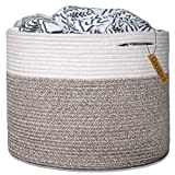 "Goodpick Large Cotton Rope Basket 15.8""x15.8""x13.8""-Baby Laundry Basket Woven Blanket Basket Nursery Bin: more info"