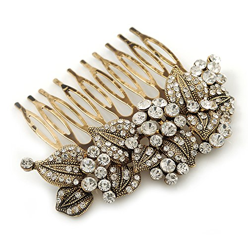 Vintage Inspired Bridal/ Wedding/ Prom/ Party Austrian Clear Crystal 'Leaves & Flowers' Hair Comb In Antique Gold Metal - 80mm (Antique Austrian Crystal)