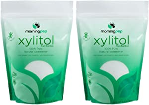 Pack of 2 Morning Pep Pure Birch Xylitol (Keto Diet Friendly) Sweetener 2.5 LB (Not from Corn) Non GMO - Kosher - Gluten Free - Product of USA. Total 5 Lbs (80 OZ)