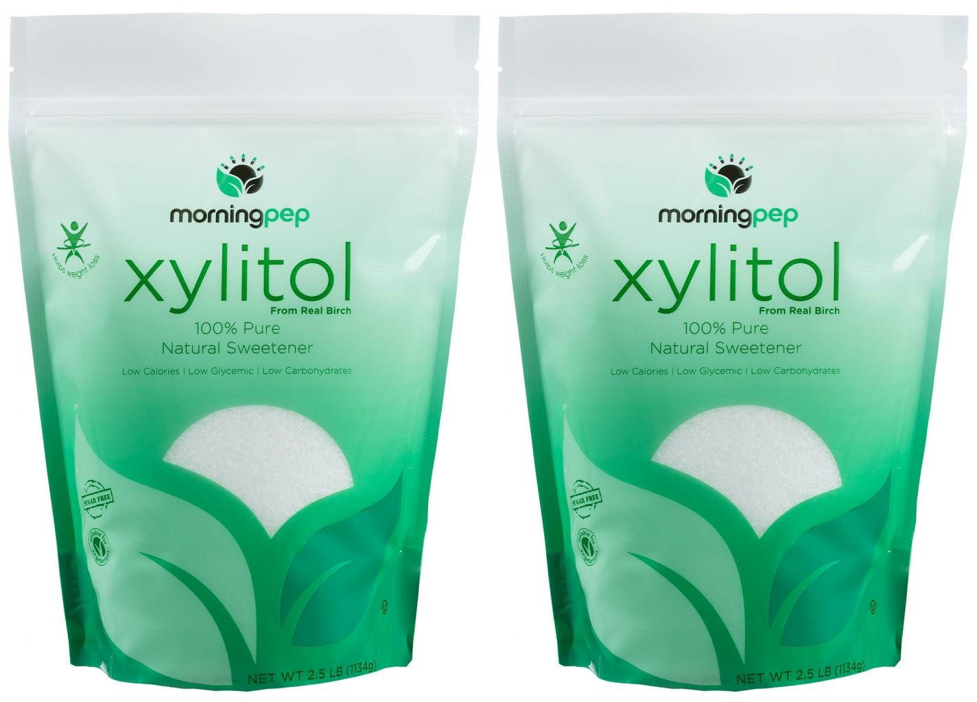 Pack of 2 Morning Pep Pure Birch Xylitol (Keto Diet Friendly) Sweetener 2.5 LB (Not from Corn) Non GMO - Kosher - Gluten Free - Product of USA. Total 5 Lbs (80 OZ) by Morning Pep (Image #1)