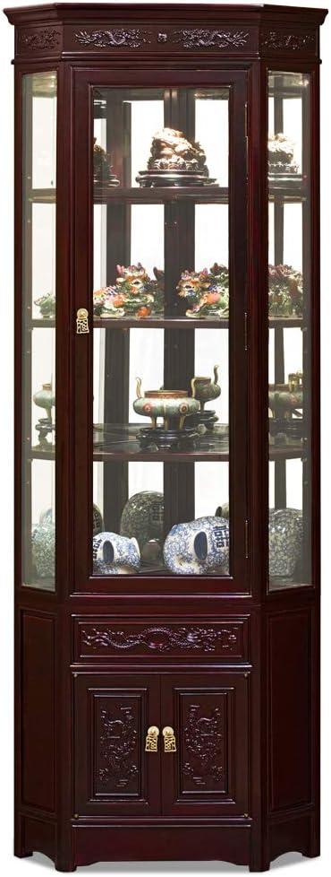 China Furniture Online Rosewood Chinese Display Cabinet, Corner Curio, Dragon Motif, Dark Cherry