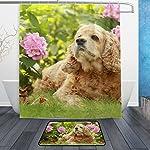 My Daily English Cocker Spaniel Dog Flower Shower Curtain 60 x 72 inch with Bath Mat Rug & Hooks, Waterproof Polyester Decoration Bathroom Curtain Set 6