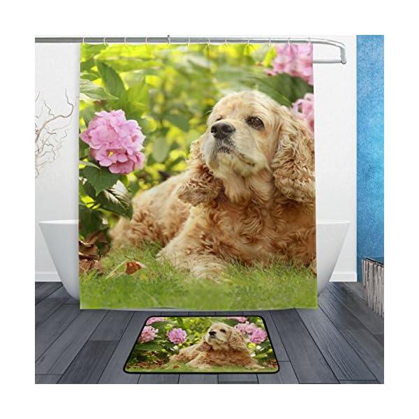 My Daily English Cocker Spaniel Dog Flower Shower Curtain 60 x 72 inch with Bath Mat Rug & Hooks, Waterproof Polyester Decoration Bathroom Curtain Set 1