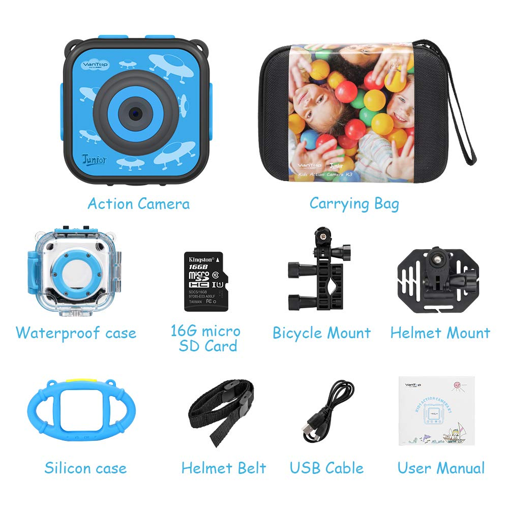 VanTop Junior K3 Kids Camera, 1080P Supported Waterproof Video Camera w/ 16Gb Memory Card, Extra Kid-Proof Silicon Case by VanTop (Image #9)