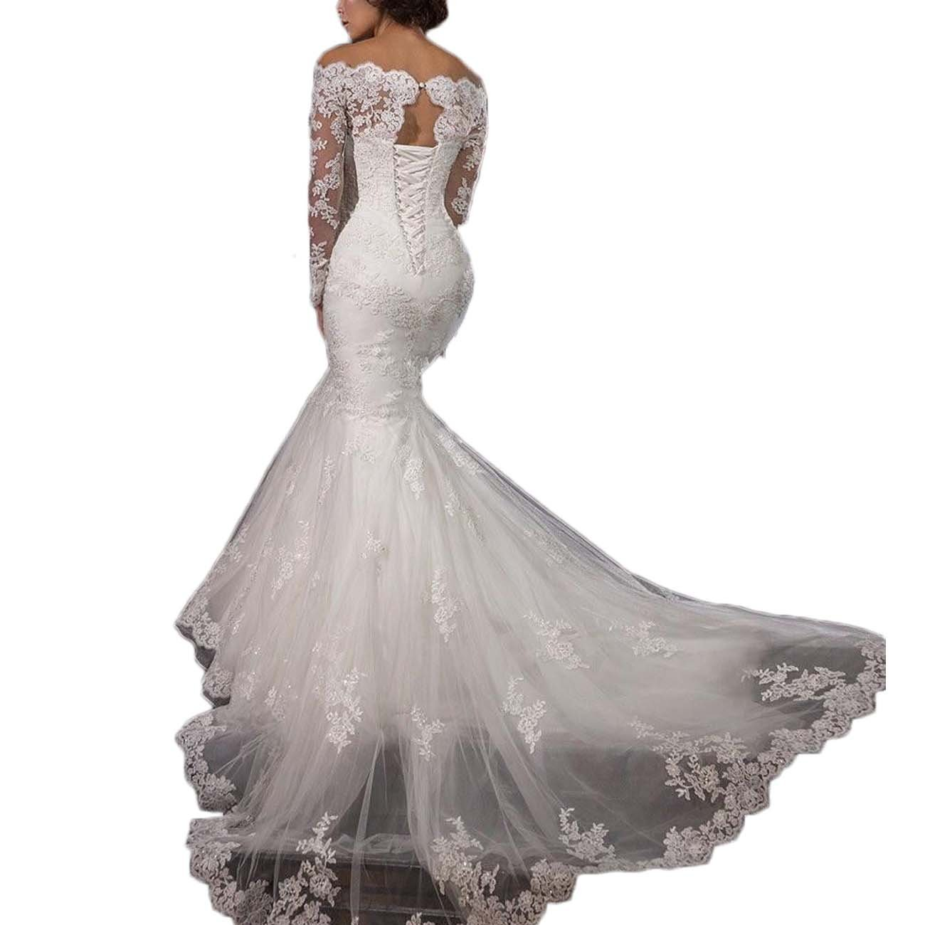 Thrsaeyi Gorgeous Mermaid Wedding Dresses Lace Applique Bridal Gowns