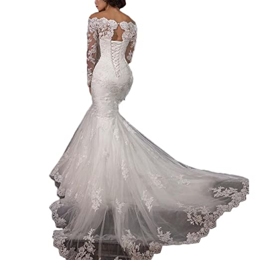55cd3400474 finest thrsaeyi gorgeous mermaid wedding dresses lace applique bridal gowns  beaded long sleeve wedding gowns at amazon womens clothing store with  silver ...