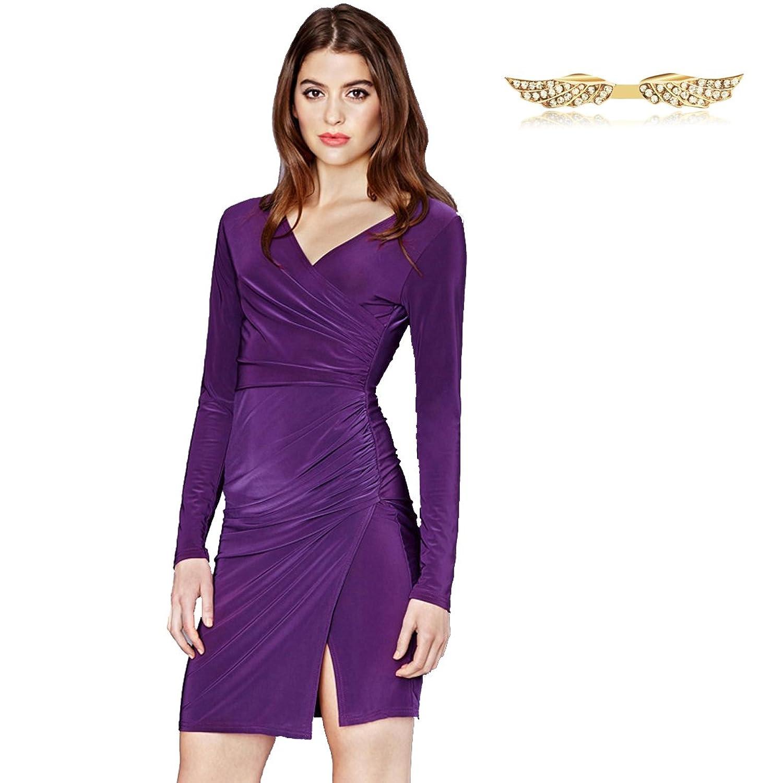 Angelwing Damen Kleider Schlank Shirring Partykleider mit Split Saum ...