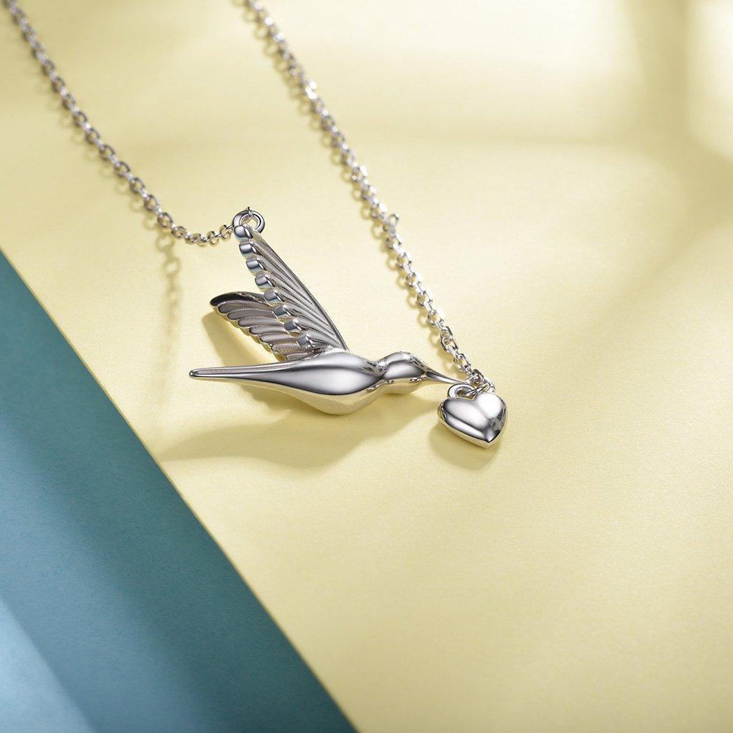 SILVERCUTE Novelty Heart Hummingbird Women Necklace 925 Sterling Silver Fine Jewelry Bird Pendant & Chain by SILVERCUTE (Image #6)