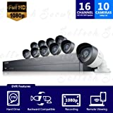 Samsung SDH-C75100BN 16 Channel 1080p Full HD DVR Video Security System with 2TB Hard Drive and 10 1080p Weather Resistant Bullet Cameras (SDC-9441BC)