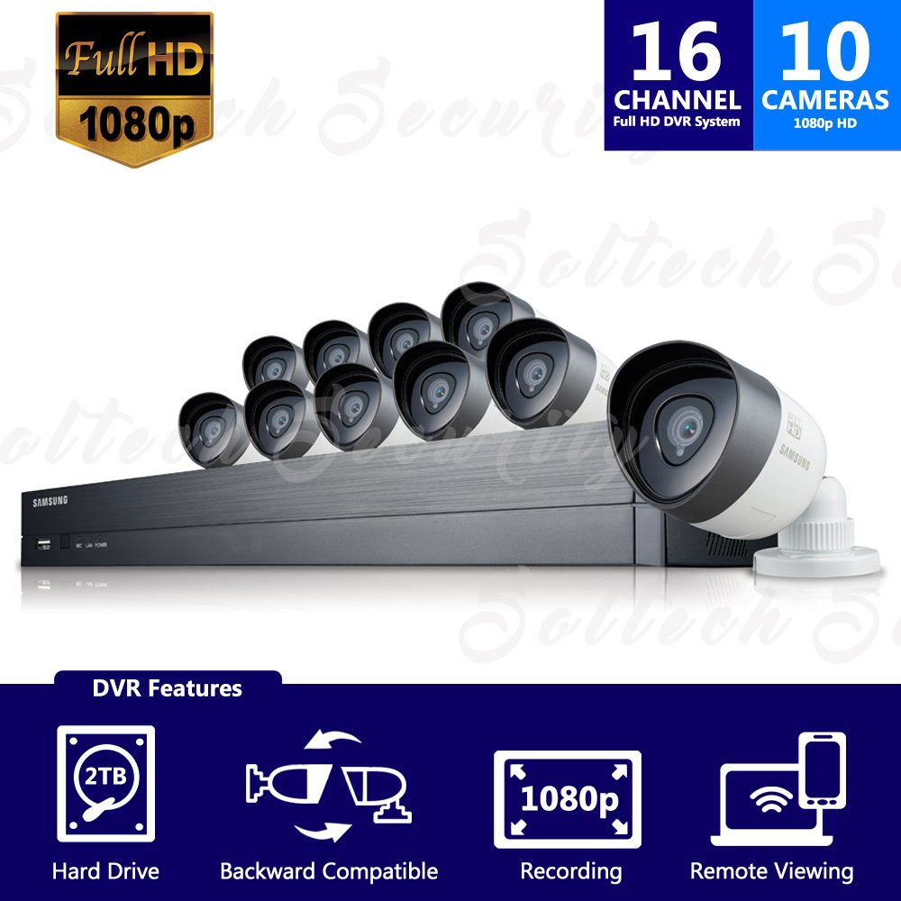 Samsung Sdh C75100bn 16 Channel 1080p Full Hd Dvr Video Port Cctv Camera Wiring Diagram Security System With 2tb Hard Drive And 10 Weather Resistant Bullet Cameras