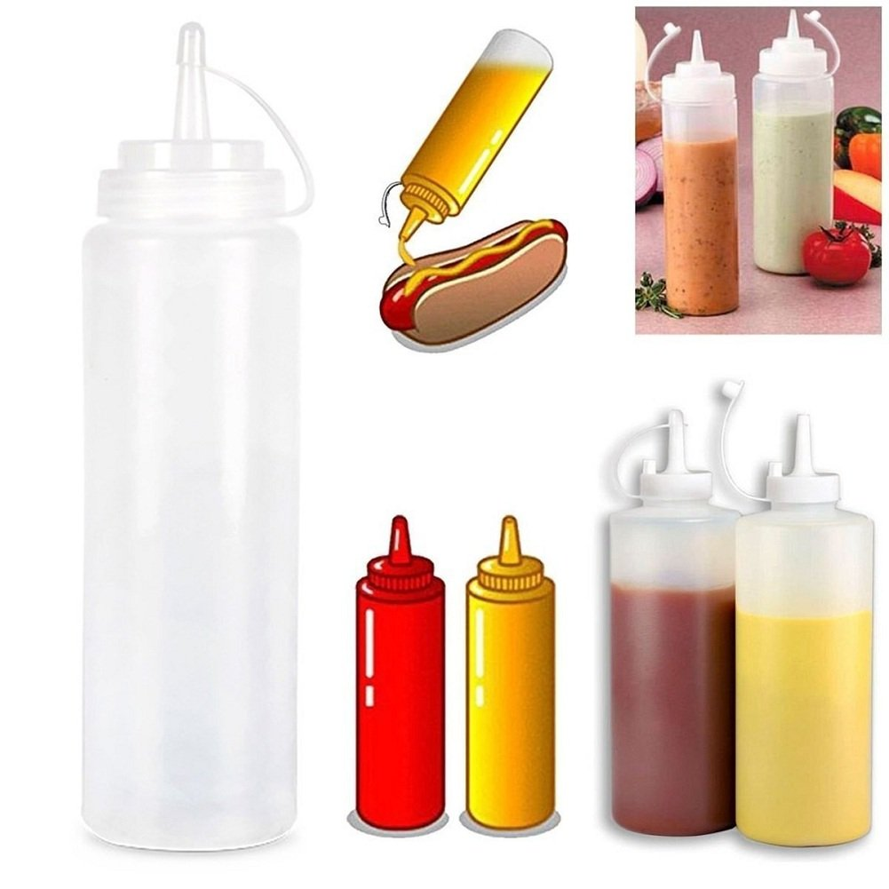Plastic Squeeze Bottles with Nozzles,Cheap4uk 1pcs Condiment Squeeze Sauce Bottles with Caps for Home & Restaurant Ketchup, Mustard, Mayo, Dressings, Olive Oil, BBQ Sauce(8oz)
