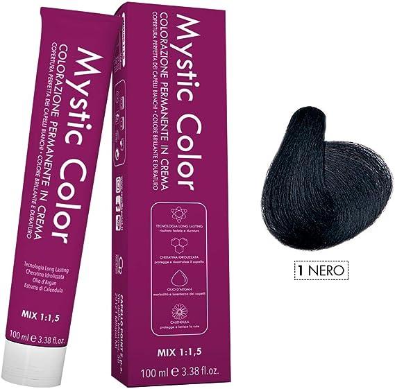 Mystic Color - Coloración Permanente en Crema con Aceite de Argán y Caléndula - Color Natural y Duradero - Tono 1 Negro - 100 ml