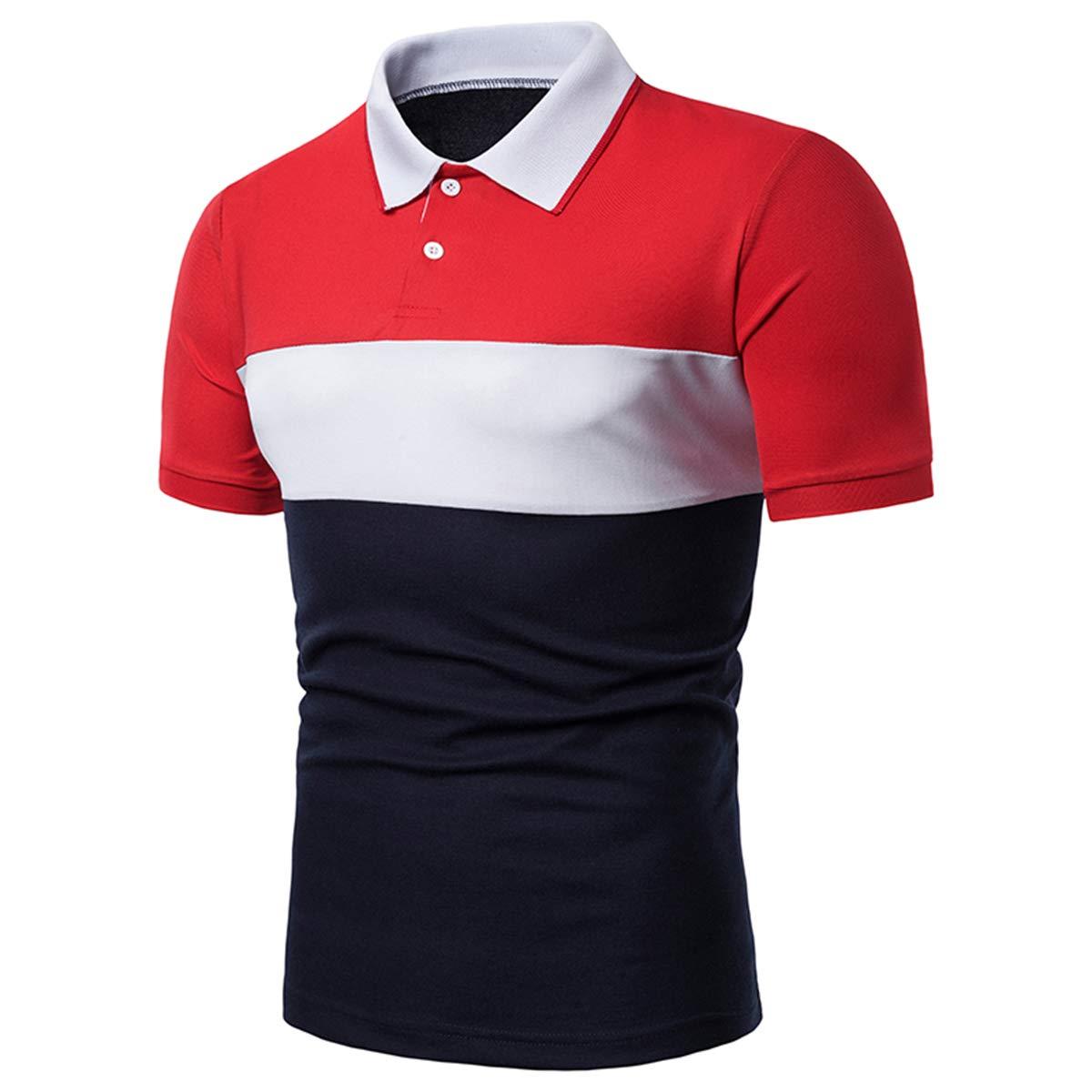 e885b04d75 Cindeyar Herren Poloshirt Polohemd Kurzarm Farbblock T-Shirt Sommer Basic  Slim Fit Polo Shirt product