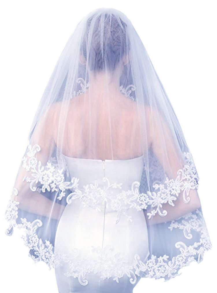 Julang White Bridal Veils Women's Short 2 Tier Lace Wedding Bridal Veil With Comb (White)