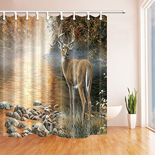 Wildaniaml Shower Curtains for Bathroom Safari Animal Deer Stand in Riverside in Forest Polyester Fabric Waterproof Bath Curtain Shower Curtain Hooks Included 70.8X70.8in