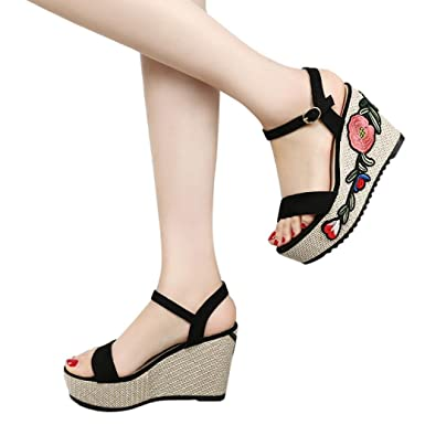 2bd38bcff141 QingFan Women s Platform Wedge Sandal Classic High Heel Ankle Strap  Embroidery Floral Shoes (Black