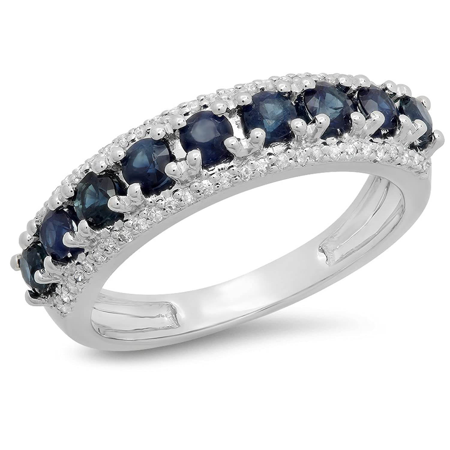 14K Gold Round Blue Sapphire & White Diamond Ladies Anniversary Wedding Band Stackable Ring