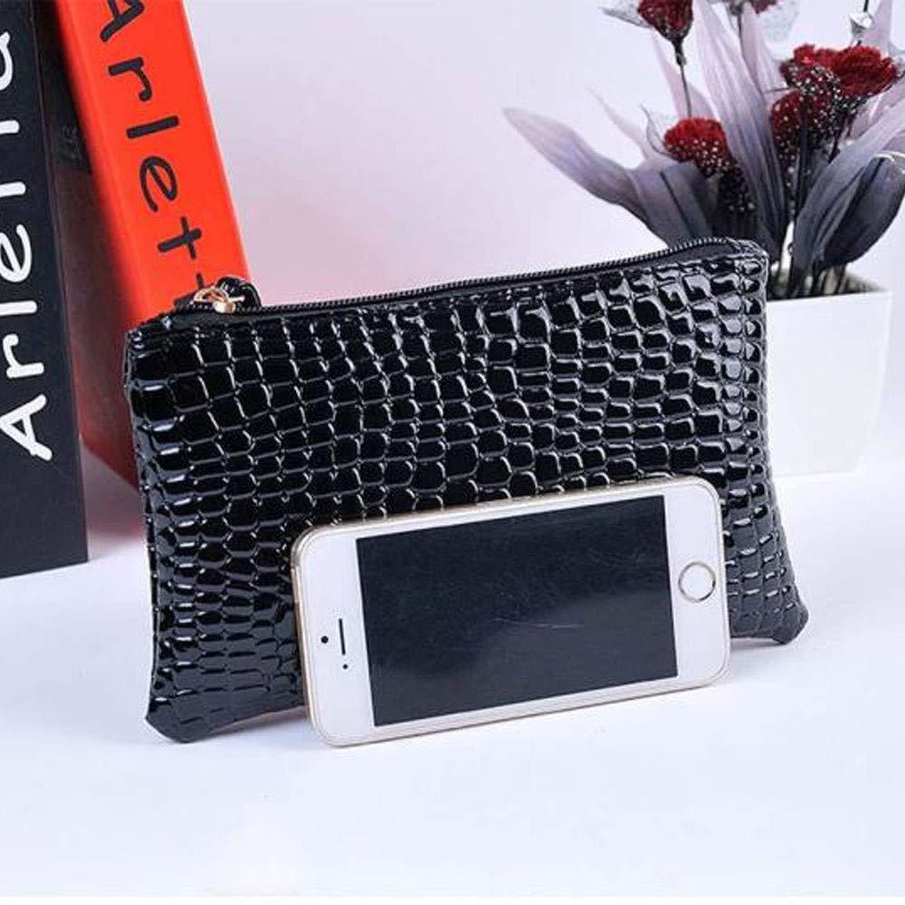 ❤️Sunbona Card Holder Wallet for Women Crocodile Leather Clutch Handbag Bag Coin Purse Card Holder Crossbody Bags (Black) by Sunbona (TM) (Image #4)