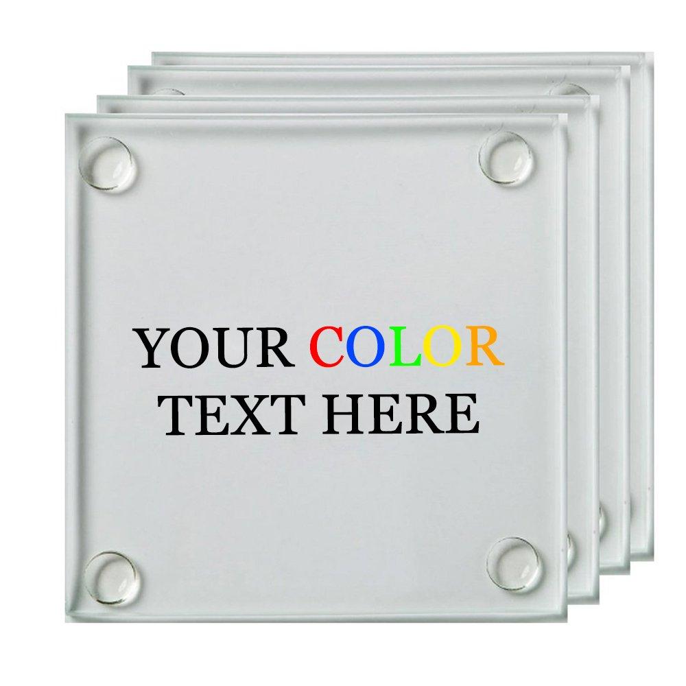 任意のテキスト、カスタマイズ印刷のカスタムフルカラーガラスコースター、セットの4 – カスタム写真Personalizedテキストカスタマイズ可能なギフト   B07C8R7JVM
