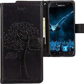 CLM-Tech Funda para Samsung Galaxy J7 2017, Carcasa Cuero sintético, Flip Case con Soporte y Ranuras para Tarjetas, Árbol búho Negro
