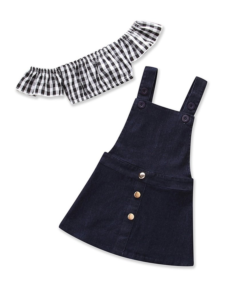 Kids Little Girls Ruffle Plaid Tops Denim Suspender Dress Overalls Clothes Set
