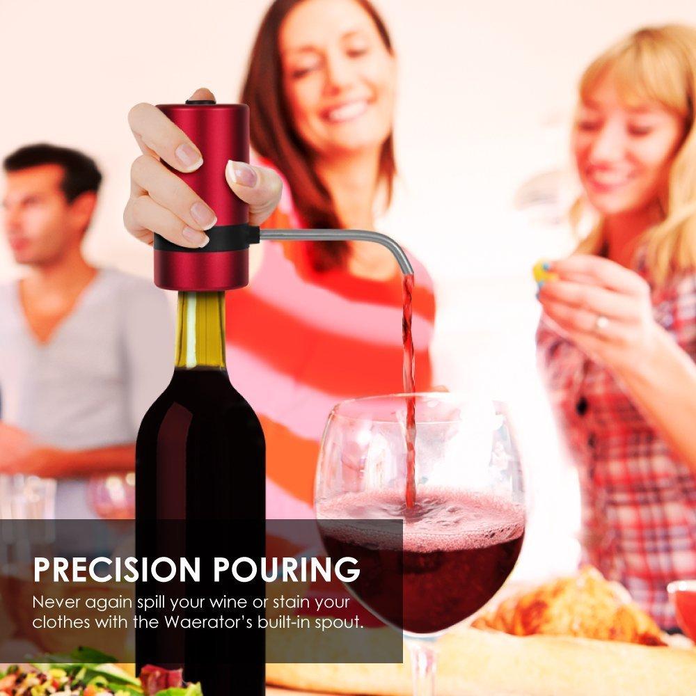 Aeratore elettrico per Vino//–/waerator Decanter e dispenser di vino, risparmio di tempo por aireado Inmediato con un pulsante, batterie non incluse