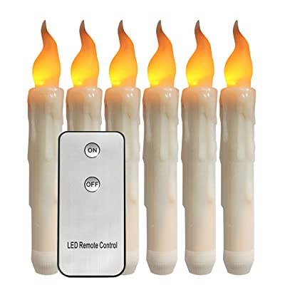 Houdlee 6.69 Inch Flameless LED Taper Candles Lights with Remote Control, Battery Operated Warm Yellow Flickering Led Candles for Christmas Party, Fireplace Mantle, Wall Sconces, Halloween Decoration: Home Improvement