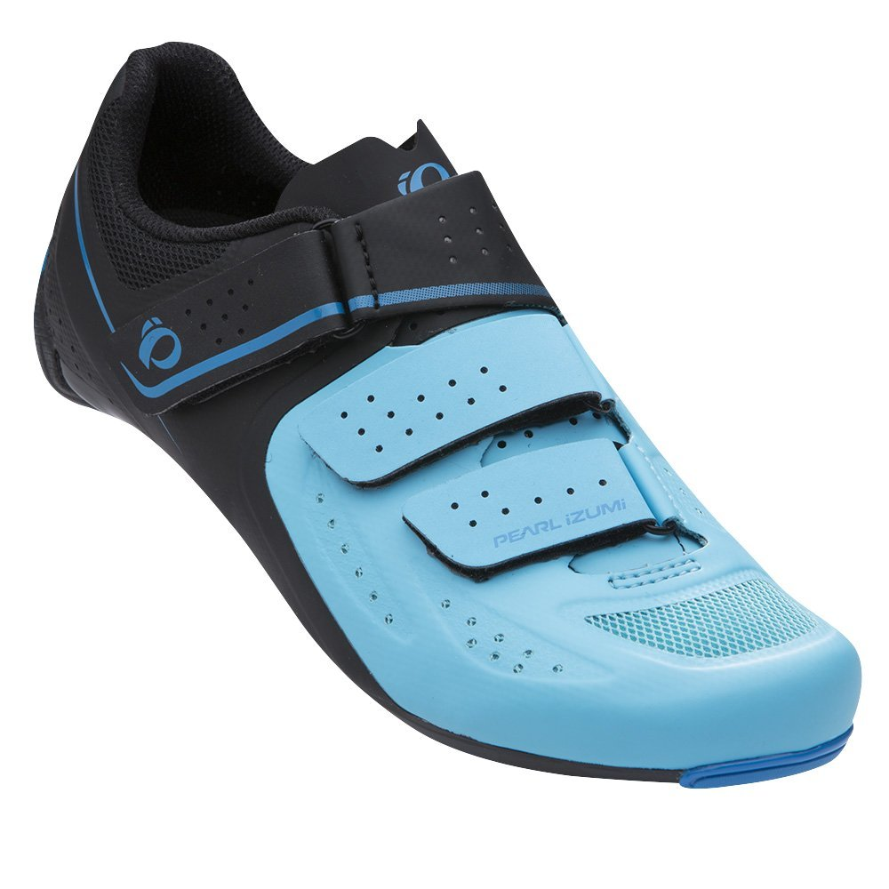 Pearl iZUMi Women's W Select Road v5 Cycling Shoe, Black/Aqua Blue, 37.0 M EU (6 US)