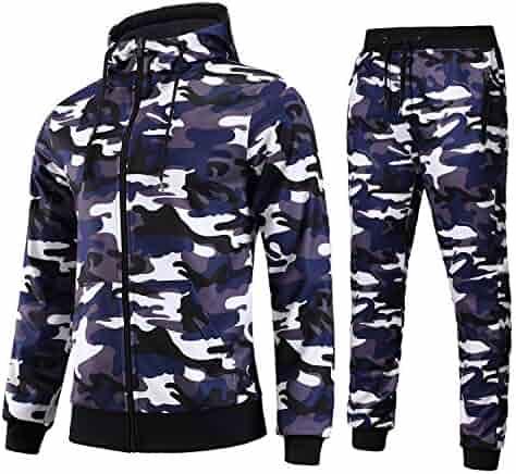 7a16568268 FZDX Hoodie Tracksuit Slim Fit Long Sleeve Zip-up Hoodie Joggers Set Camo