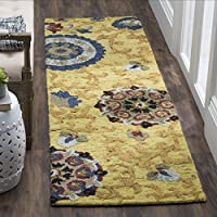Safavieh Blossom Collection BLM401B Handmade Floral Vines Gold and Multi Premium Wool Runner (23 x 6)