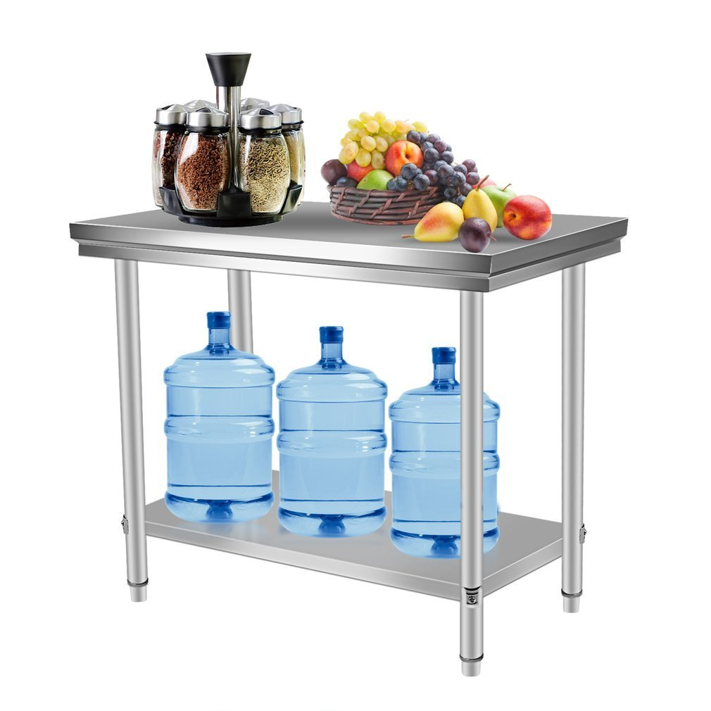 Belovedkai Stainless Steel Work Table, Commercial Kitchen Restaurant Work Food Prep Table, Sliver (47.24 x 23.62 x 31.50 in)