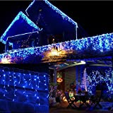 JnDee trade; Safe Voltage Fully Weatherproof Icicle Christmas Fairy Lights BLUE 400 LED 10M Wide 80 Drops Plus a Massive 10M Lead Cable, 8 Modes, Low Safe Voltage