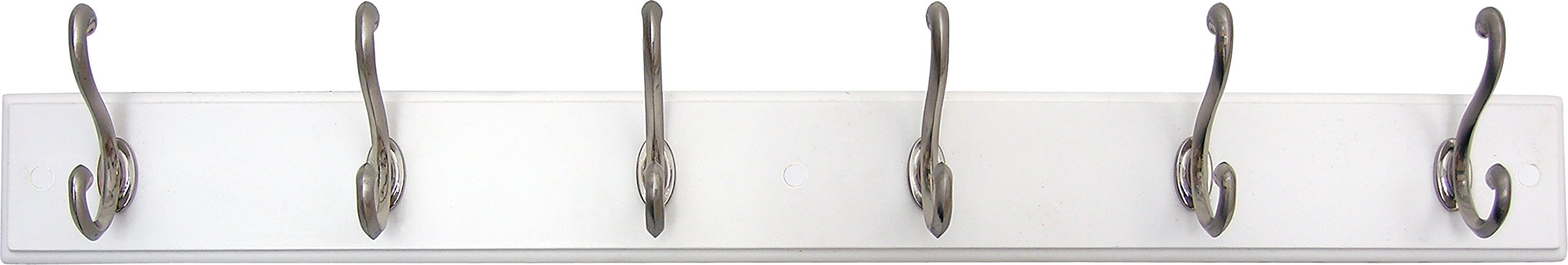 Headbourne 93785 Hook Rail/Coat Rack with 6 Satin Nickel Hooks, White Board - 6 Satin nickel double hooks on white board Sturdy hooks are perfect for hats, coats, umbrellas and other items Wall mounted backplate is 26-inches long x 3-inches wide - entryway-furniture-decor, entryway-laundry-room, coat-racks - 619MAZWEV1L -