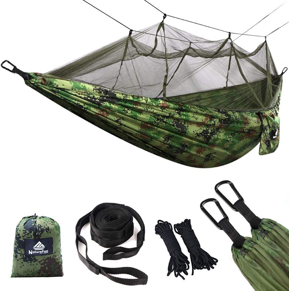 NATUREFUN Mosquitero Hamaca Ligera Viaje y Camping | 300kg de Capacidad de Carga, (275 x 140 cm) Transpirable Nylon| 2 x Mosquetones Premium, 4 x Correas de Nylon Incluidas