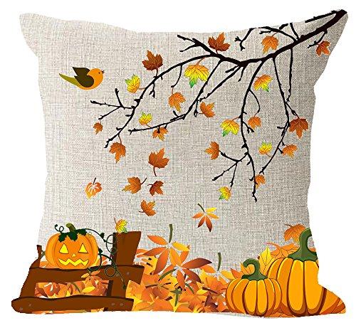 Happy Fall Yall Big Tree Maple Leaves Harvest Pumpkins Animal Birds cotton Linen Square Throw Pillow Case Decorative Cushion Cover Pillowcase Sofa 18x 18