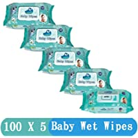 GLIDER Baby Wet Wipes with Lid/Flip-top(100 Wipes) (White) - Pack of 5