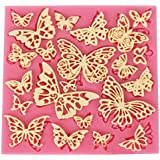 Dolland 1 X Butterfly Shape Silicone Mold Lace Cake Mold Texture Fondant Impression Cake Decorating Tool Silicone Chocolate Icing Border Sugar Mold