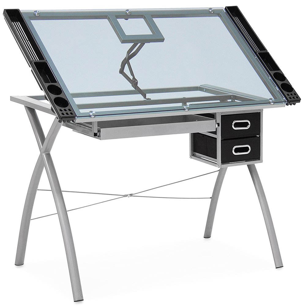 Bonnlo Adjustable Drafting Table Tempered Glass Top Drawing Desk Art Craft Station w/Drawers