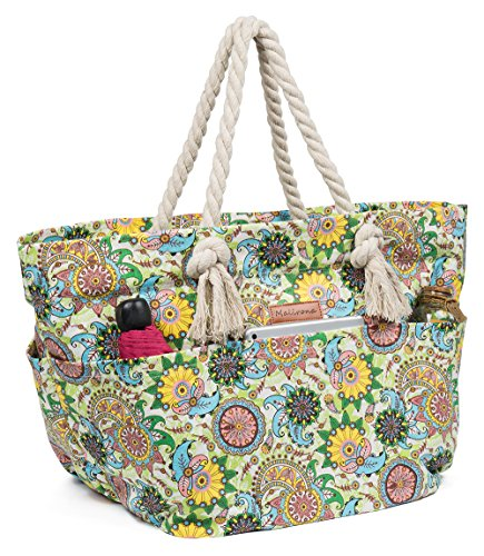 Malirona Large Canvas Beach Bag Shoulder Bags,6 pockets,44L, Weekend Holiday Perfect Bag (Green - Large Fabric Bags Bags