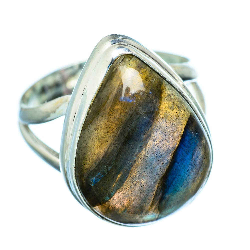 - Handmade Jewelry Bohemian Ana Silver Co Labradorite Ring Size 8.5 925 Sterling Silver Vintage RING949181