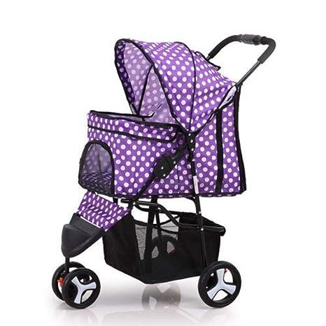Dixinla Cochecito para Mascotas Gato Peso Ligero Plegable Carro Triciclo Oxford Tela pequeño Coche de bebé