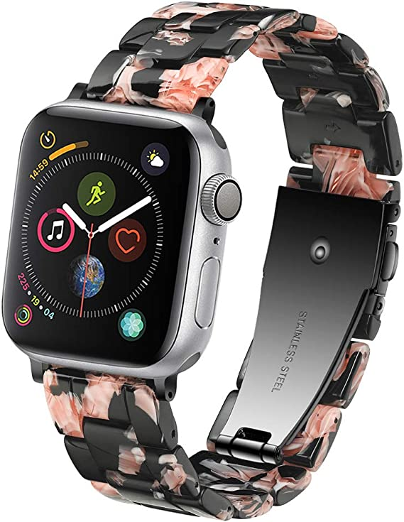 Caunedy Resin Watch Band for 38mm 40mm 42mm 44mm Apple Watch Series 4 3 2 1 with Stainless Steel Buckles Fashion Lightweight Smart Watch Wristband ...