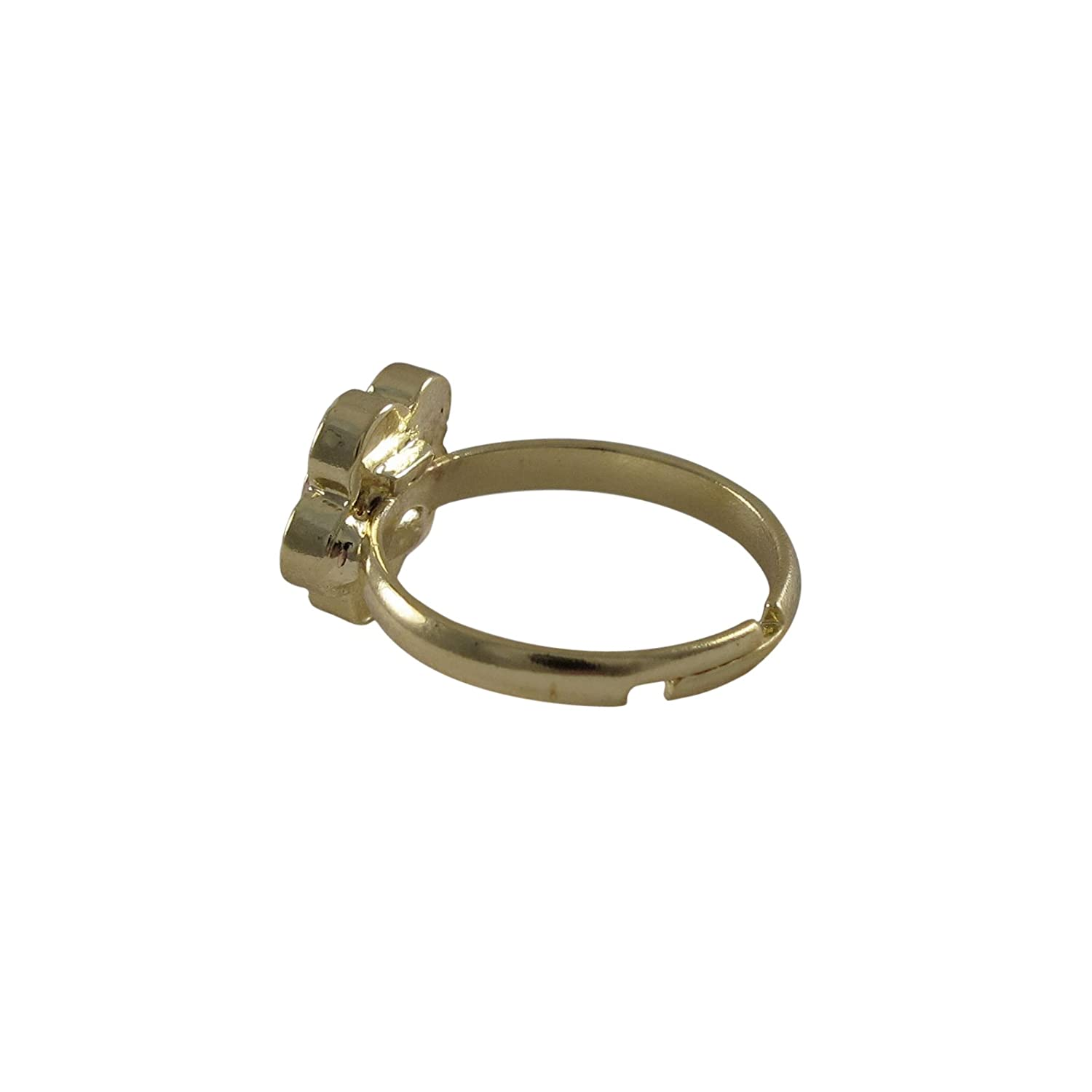 Ivy and Max Gold Finish Multi Color Pink Flower Adjustable Girls Ring
