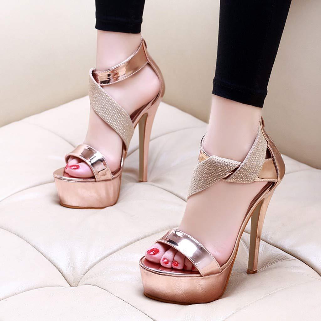 Orangeskycn Women Sandals Slip Pointed Toe Super High Heel Shoes Buckle Strap Gladiator Party Wedding Sandals Gold by Orangeskycn Women Sandals (Image #7)