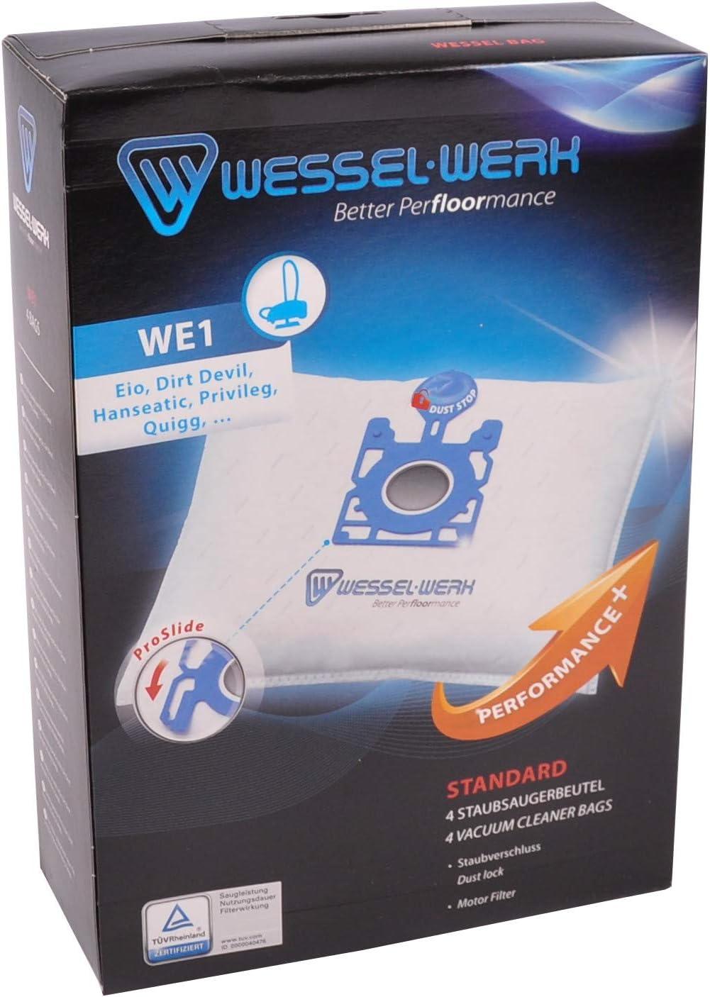 Wessel Werk - 109083312 WesselBag WE1 aspiradora Bolsas para Eio, Dirt Devil, hanseática Quigg: Amazon.es: Hogar