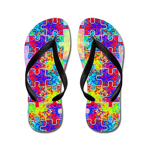 CafePress Autism colorful Puzzle Pieces - Flip Flops, Funny Thong Sandals, Beach Sandals Black