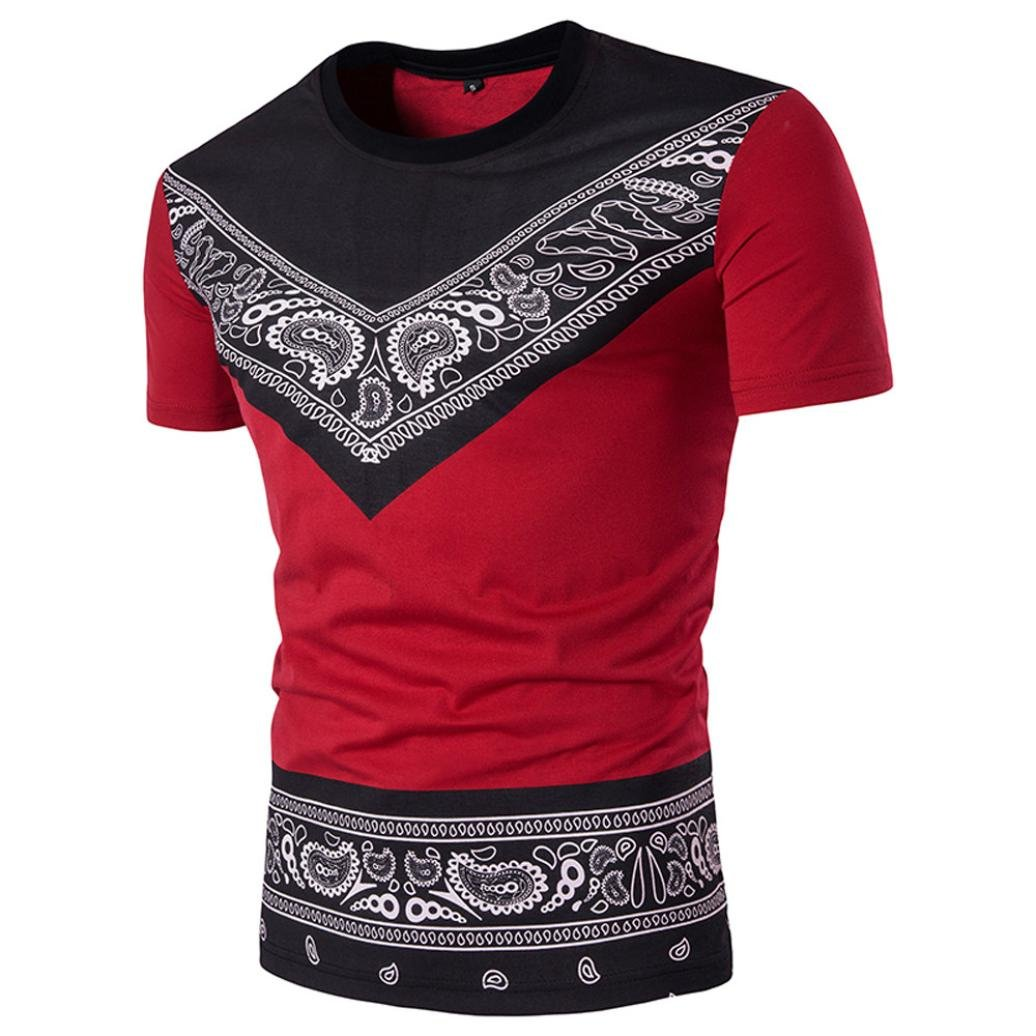 Camiseta para Hombre,RETUROM Hombres Ropa Superior de Verano de los Hombres Ocasionales Sudadera con Estampado Africano Camiseta de Manga Corta Top Blouse Face