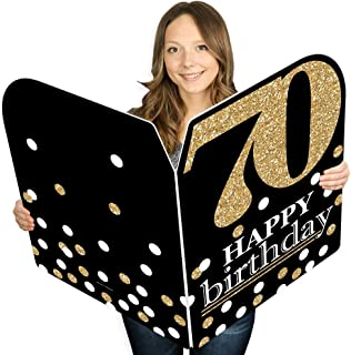 product image for Big Dot of Happiness Adult 70th Birthday - Gold - Happy Birthday Giant Greeting Card - Big Shaped Jumborific Card - 16.5 x 22 inches