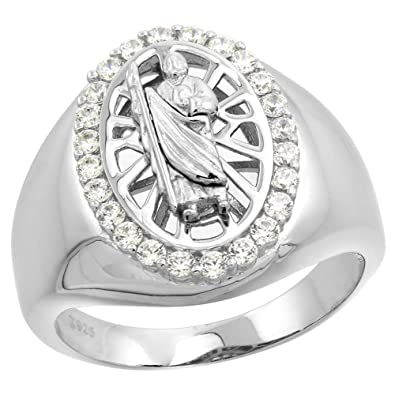 0aa8431bbc0fb Sterling Silver CZ Saint Jude Ring for Men Oval 23/32 inch sizes 8 ...